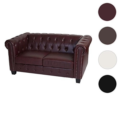 luxus 2er sofa loungesofa couch chesterfield kunstleder eckige f e rot braun g nstig online. Black Bedroom Furniture Sets. Home Design Ideas