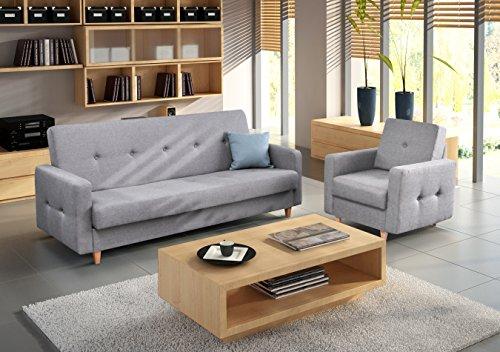 polstergarnitur sofa und sessel couch mit bettkasten und schlaffunktion polstersofa 3 1 perry. Black Bedroom Furniture Sets. Home Design Ideas