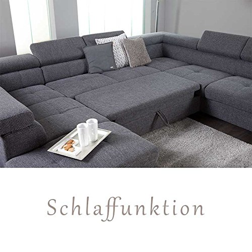 xxl wohnlandschaft couch cary u form strukturstoff grau mit schlaffunktion ottomane. Black Bedroom Furniture Sets. Home Design Ideas