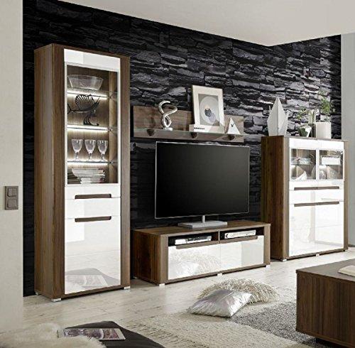 Dreams4home wohnzimmer set polli i set vitrine highboard tv schrank wandboard phono mbel - Wandboard walnuss ...
