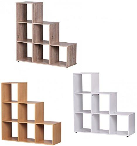 Finebuy Stufenregal Raumteiler Wohnregal mit 6 Fächern 110 cm Farbe wählbar