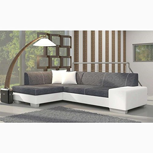 justhome fabio ecksofa polsterecke schlafsofa strukturstoff kunstleder hxbxt 73x268x167 cm. Black Bedroom Furniture Sets. Home Design Ideas