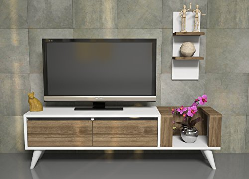 pers wohnwand wei nussbaum tv lowboard tv board fernsehtisch mit wandregal in. Black Bedroom Furniture Sets. Home Design Ideas
