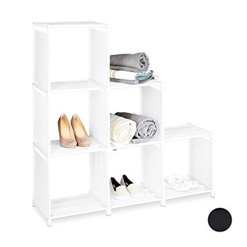 Relaxdays Stufenregal mit 6 Fächern, H x B x T: ca. 109 x 106 x 30 cm, einfaches Stecksystem, Raumteiler und Treppenregal, verschiedene Farben