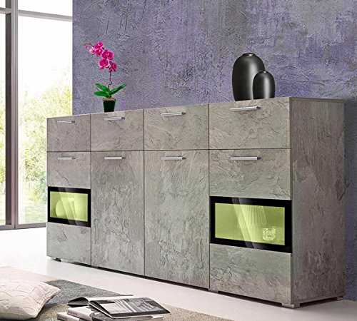sideboard 679535 kommode 4 t rig beton absetzung schwarz 182cm g nstig online kaufen wohnw nde. Black Bedroom Furniture Sets. Home Design Ideas