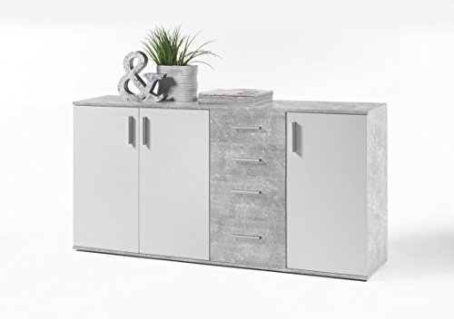sideboard beton weiss mit 4 schubk sten g nstig online kaufen wohnw nde. Black Bedroom Furniture Sets. Home Design Ideas