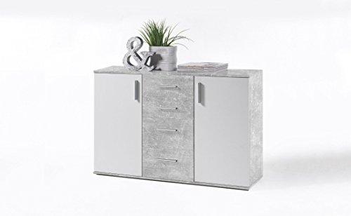 sideboard beton weiss mit 4 schubk sten und 2 t ren g nstig online kaufen wohnw nde. Black Bedroom Furniture Sets. Home Design Ideas