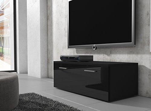 tv m bel lowboard schrank st nder boston korpus schwarz front schwarz hochglanz 100 cm g nstig. Black Bedroom Furniture Sets. Home Design Ideas