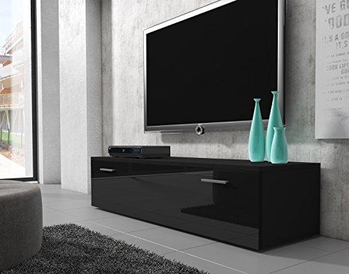 tv m bel lowboard schrank st nder boston korpus schwarz front schwarz hochglanz 150 cm g nstig. Black Bedroom Furniture Sets. Home Design Ideas