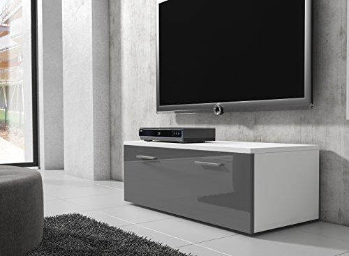 tv m bel lowboard schrank st nder boston korpus wei front grau hochglanz 100 cm m bel24. Black Bedroom Furniture Sets. Home Design Ideas