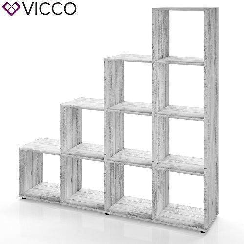 Treppenregal 10 Fächer Grau Beton - Raumteiler Raumtrenner Stufenregal Bücherregal Aktenregal Standregal