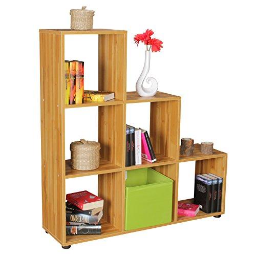 WOHNLING Stufenregal LUNA Holz 6 Fächer Standregal 104,5 x 111 x 29 cm | Design Raumteiler für Ordner & Bücher | Kleines Treppenregal