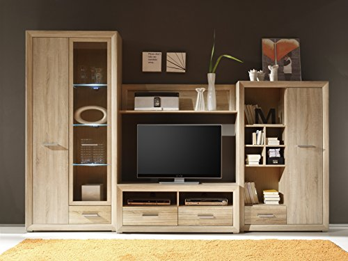wohnwand sonoma eiche mit beleuchtung 0 m bel24. Black Bedroom Furniture Sets. Home Design Ideas