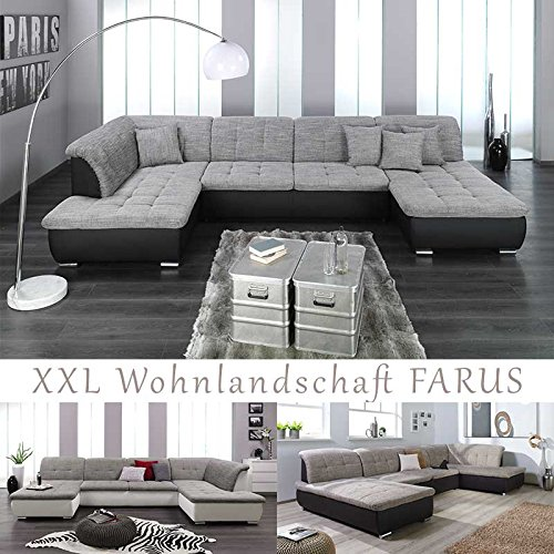 xxl wohnlandschaft couchgarnitur farus u form versch. Black Bedroom Furniture Sets. Home Design Ideas