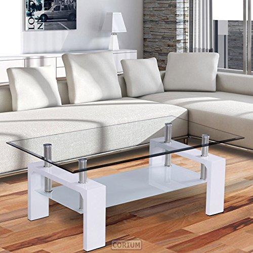 [corium] Couchtisch - Wohnzimmertisch (110 x 60 x 45 cm) (Glassplatte) (weiss oder schwarz) Tisch / Glastisch / Beistelltisch / Wohnzimmer / Hochglanz