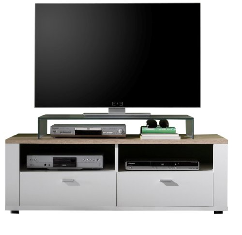 trendteam cs31691 tv m bel tv unterteil weiss san remo eiche hell bxhxt 125 x 45 x 47 cm. Black Bedroom Furniture Sets. Home Design Ideas