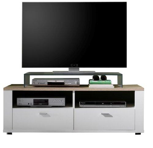 trendteam cs31691 tv m bel tv unterteil weiss san remo eiche hell bxhxt 125 x 45 x 47 cm. Black Bedroom Furniture Sets. Home Design Ideas