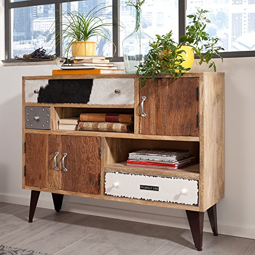 wolf m bel sideboard mit 3 schubladen 3 t ren und metallf en pilo g nstig online kaufen wohnw nde. Black Bedroom Furniture Sets. Home Design Ideas