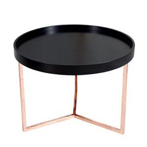 extravaganter couchtisch modul 60 cm matt schwarz kupfer rund inkl tablett beistelltisch. Black Bedroom Furniture Sets. Home Design Ideas