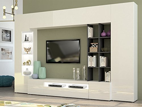 wohnwand mediawand anbauwand schrankwand wohnzimmerschrank egypt i wei hochglanz schiefer. Black Bedroom Furniture Sets. Home Design Ideas