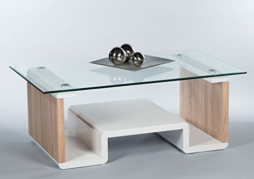 couchtisch sofatisch wohnzimmertisch rene braun wei hochglanz glasplatte 110x65 cm. Black Bedroom Furniture Sets. Home Design Ideas