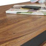 FineBuy Couchtisch KARNA Kunstleder Massiv-Holz Sheesham Natur 118 x 40 x 61 cm | Landhaus-Stil Wohnzimmertisch Rustikal Kaffeetisch | Massivholztisch Wohnzimmer