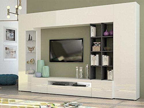 wohnwand mediawand anbauwand schrankwand wohnzimmerschrank egypt i wei hochglanz schiefer. Black Bedroom Furniture Sets. Home Design Ideas