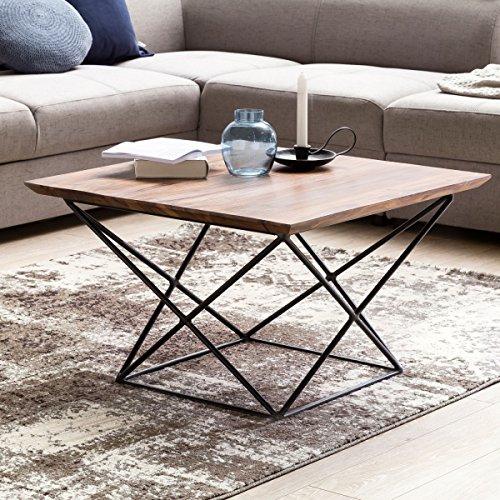 FineBuy Design Couchtisch OKALA Sheesham Massivholz 71 x 71 x 45 cm mit Metallgestell | Wohnzimmertisch quadratisch Modern | Holz Tisch