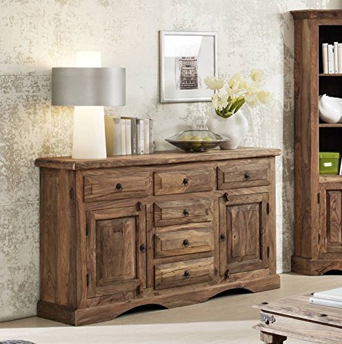 kolonialstil massivm bel sheesham grau sideboard. Black Bedroom Furniture Sets. Home Design Ideas