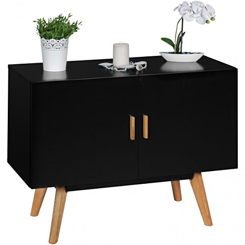 sideboard mdf holz schwarz mit 2 t ren kommode 90 x 40 cm dielenm bel design anrichte modern. Black Bedroom Furniture Sets. Home Design Ideas