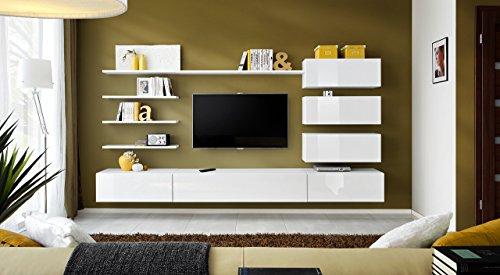 """BMF """"Italien Modern Hochglanz Wohnzimmer/Schlafzimmer/Studio flach–Möbel Set–Wohnwand TV Ständer/Schränke & Regale–nur aus BMF."""