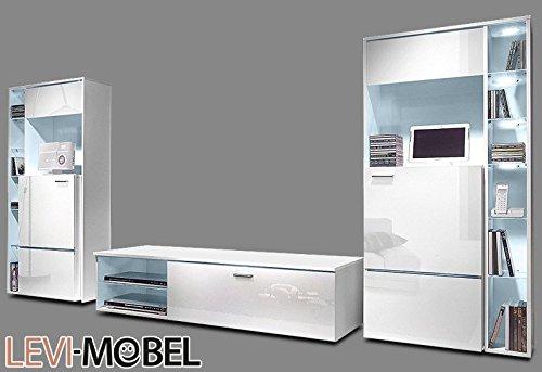 wohnwand 3 tlg wohnzimmer anbauwand vitrine lowboard wei hochglanz neu 895223 g nstig online. Black Bedroom Furniture Sets. Home Design Ideas