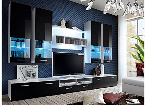 wohnwand corfu hochglanz mit led beleuchtung schwarz wei g nstig online kaufen m bel24 wohnw nde. Black Bedroom Furniture Sets. Home Design Ideas