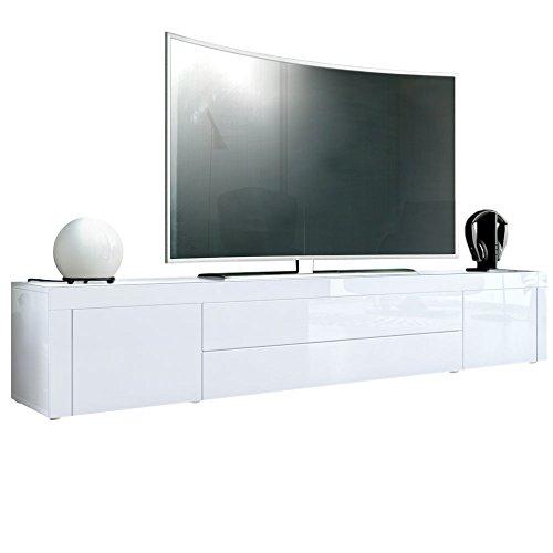 TV Board Lowboard La Paz, Korpus in Weiß Hochglanz / Front in Weiß Hochglanz mit Rahmen in Weiß Hochglanz