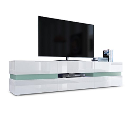 TV Board Lowboard Flow, Korpus in Weiß Hochglanz / Front in Weiß Hochglanz