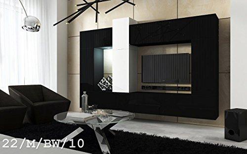 FUTURE 22 Wohnwand Anbauwand Wand Schrank Wände Schränke Wohnzimmer Wohnzimmerschrank Matt Weiß Schwarz Schwarz-Weiß LED RGB Beleuchtung (22/M/BW/10, LED blau)