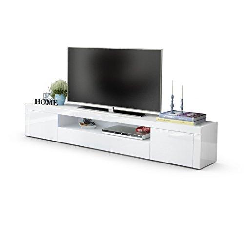 TV Board Lowboard Santiago V2, Korpus in Weiß Hochglanz / Fronten in Weiß Hochglanz und Weiß Hochglanz