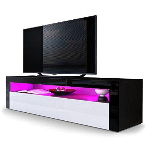TV Board Lowboard Valencia, Korpus in Schwarz matt / Front in Weiß Hochglanz mit Rahmen in Schwarz Hochglanz