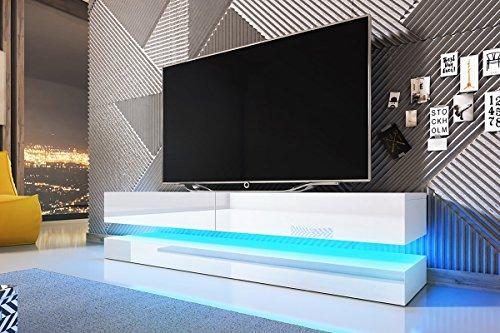 Aviator – TV-Board in Schwebeoptik / TV-Hängeschrank / Fernsehschrank (140 cm, weiß matt / weiß Hochglanz mit LED blau)