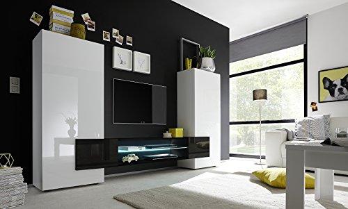 INCASTRO 709033N Wohnwand TV Möbel, Holz, weiß, 258 x 37 x 144 cm