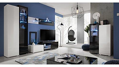 JUSTyou Skaline Wohnzimmerset Wohnzimmermöbel Wohnwand Weiß Hochglanz | Schwarz Hochglanz