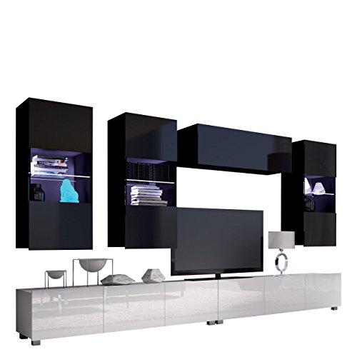 Moderne Wohnwand Calabrini V, Anbauwand, Mediawand, TV Lowboard, Hängevitrine, Wandregal, Wohnzimmerschrank, Fernsehschrank