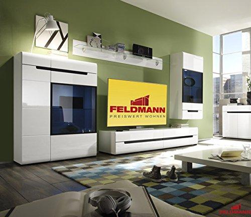 Wohnwand Anbauwand Wohnzimmer 54122 4-teilig weiß schwarz Hochglanz