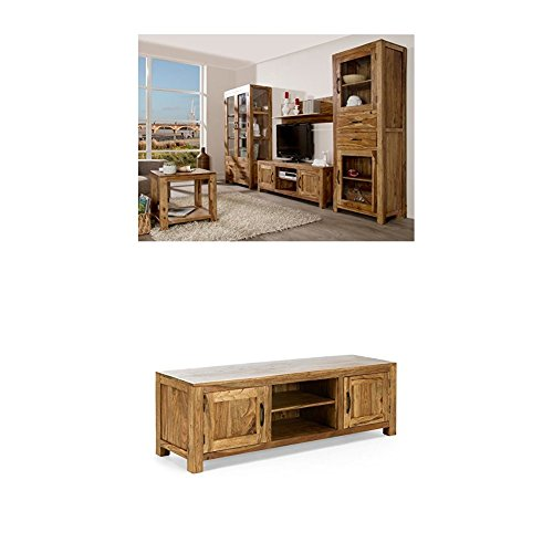Massivum Palison Wohnwand, Holz, natur, 42 x 100 x 175 cm + TV-Schrank Palison 150x50x42 cm Palisander natur lackiert