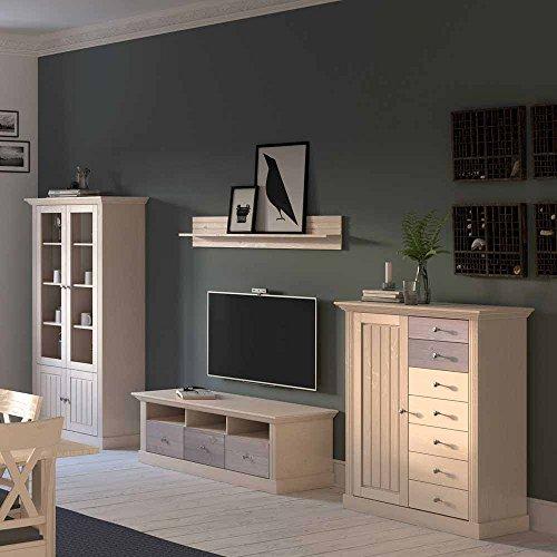 landhaus wohnwand in braun wei kiefer massivholz 4 teilig pharao24 m bel24. Black Bedroom Furniture Sets. Home Design Ideas