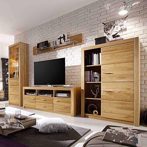 Pharao24 Wohnzimmer Schrankwand aus Eiche geölt 200 cm hoch (4-teilig) LED Beleuchtung