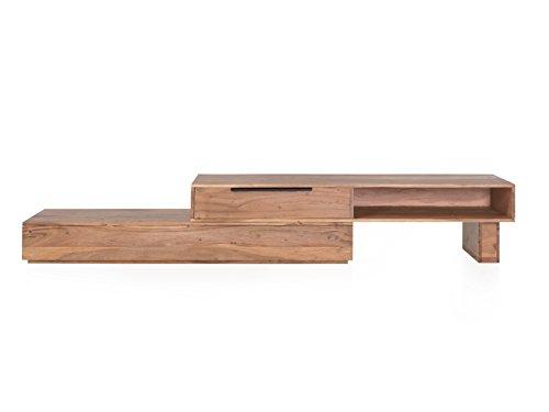 Woodkings TV Bank Auckland variabel, Lowboard aus Akazien Holz natur rustic,TV Regal Möbel aus Massivholz und flexibel stellbar, Wohnwand variabel stellbar modern (Holz, 1 Schubkasten)