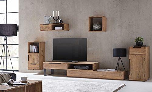 Woodkings® Wohnwand Auckland 5teilig Akazie, Lowboard TV-Bank variabel erweiterbar, Kommode, Hängeregal, Wandboard, Würfel aus Massivholz, Regalsystem, Holzregal, individuell zu kombinieren, moderne Wohnmöbel
