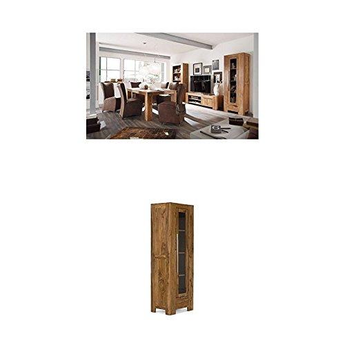 Massivum Stark Wohnwand, Holz, braun, 35 x 103 x 190 cm + Vitrine Stark 65x190x46 cm Palisander braun gewachst