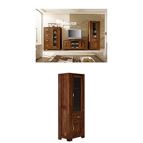 Massivum Monrovia Wohnwand, Holz, braun, 65 x 178 x 40 cm + Vitrine Monrovia 65x178x40 cm Palisander braun lackiert